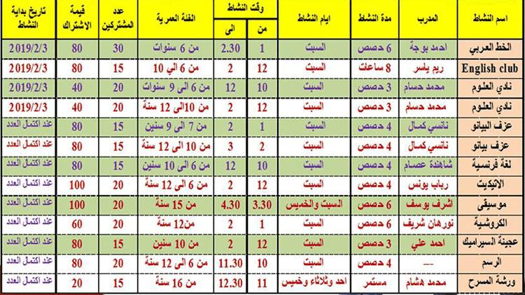 جدول الانشطة لشهر مارس 2019